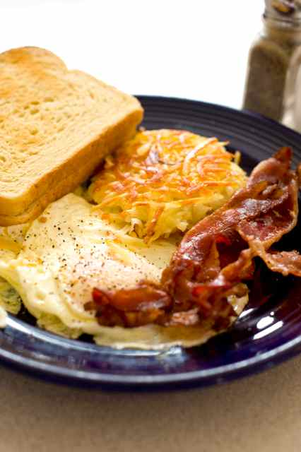 Eggs, Hashbrowns, Toast and Sausage or Bacon